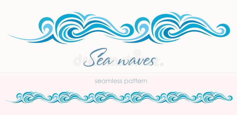 Θαλάσσιο άνευ ραφής σχέδιο με τα τυποποιημένα κύματα σε έναν ελαφρύ backgroun ελεύθερη απεικόνιση δικαιώματος