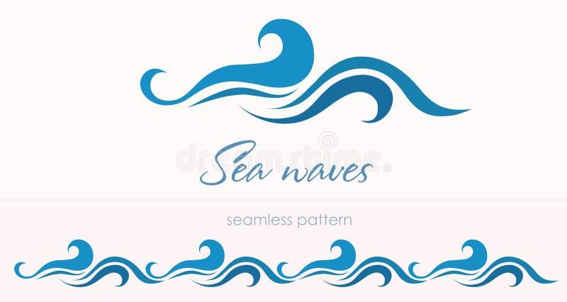 Θαλάσσιο άνευ ραφής σχέδιο με τα τυποποιημένα κύματα σε έναν ελαφρύ backgroun απεικόνιση αποθεμάτων