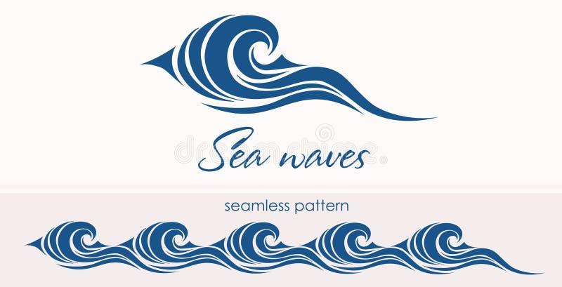 Θαλάσσιο άνευ ραφής σχέδιο με τα τυποποιημένα κύματα σε έναν ελαφρύ backgroun διανυσματική απεικόνιση