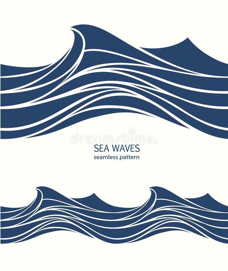 Θαλάσσιο άνευ ραφής σχέδιο με τα τυποποιημένα μπλε κύματα σε μια ελαφριά πλάτη ελεύθερη απεικόνιση δικαιώματος