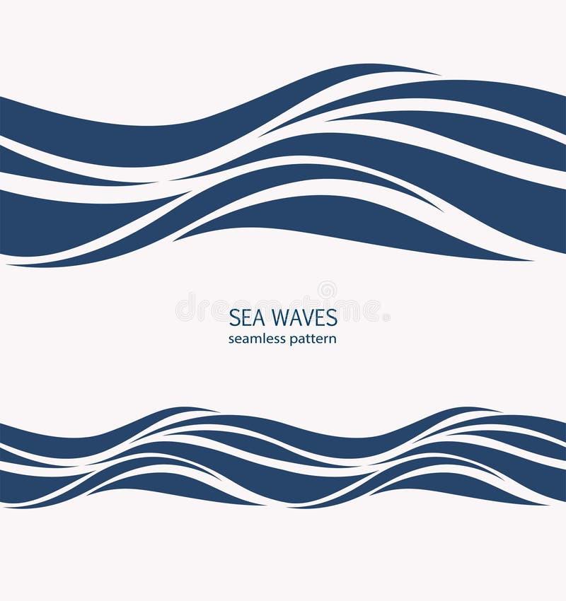 Θαλάσσιο άνευ ραφής σχέδιο με τα τυποποιημένα μπλε κύματα σε μια ελαφριά πλάτη απεικόνιση αποθεμάτων
