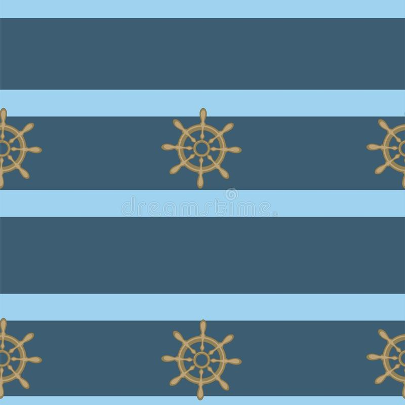 Θαλάσσιο άνευ ραφής σχέδιο με handwheels και το μπλε λωρίδα r ελεύθερη απεικόνιση δικαιώματος