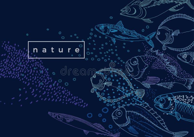 Θαλάσσιο διανυσματικό πρότυπο Ψάρια θάλασσας φύσης ελεύθερη απεικόνιση δικαιώματος