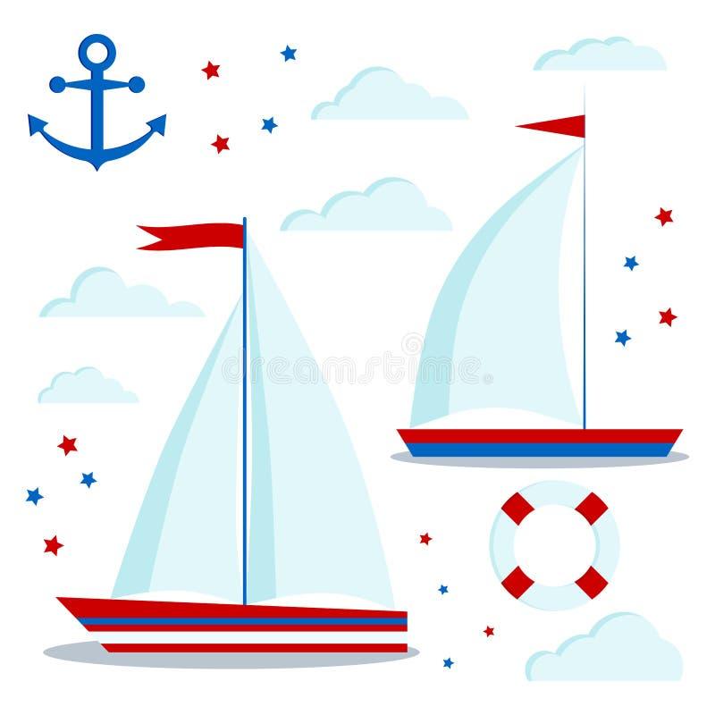 Θαλάσσιο σύνολο εικονιδίων ύφους μπλε και κόκκινα sailboats με ένα και δύο πανιά, σύννεφα, αστέρια, άγκυρα, lifebuoy διανυσματική απεικόνιση