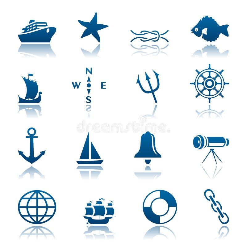 θαλάσσιο σύνολο εικον&io ελεύθερη απεικόνιση δικαιώματος