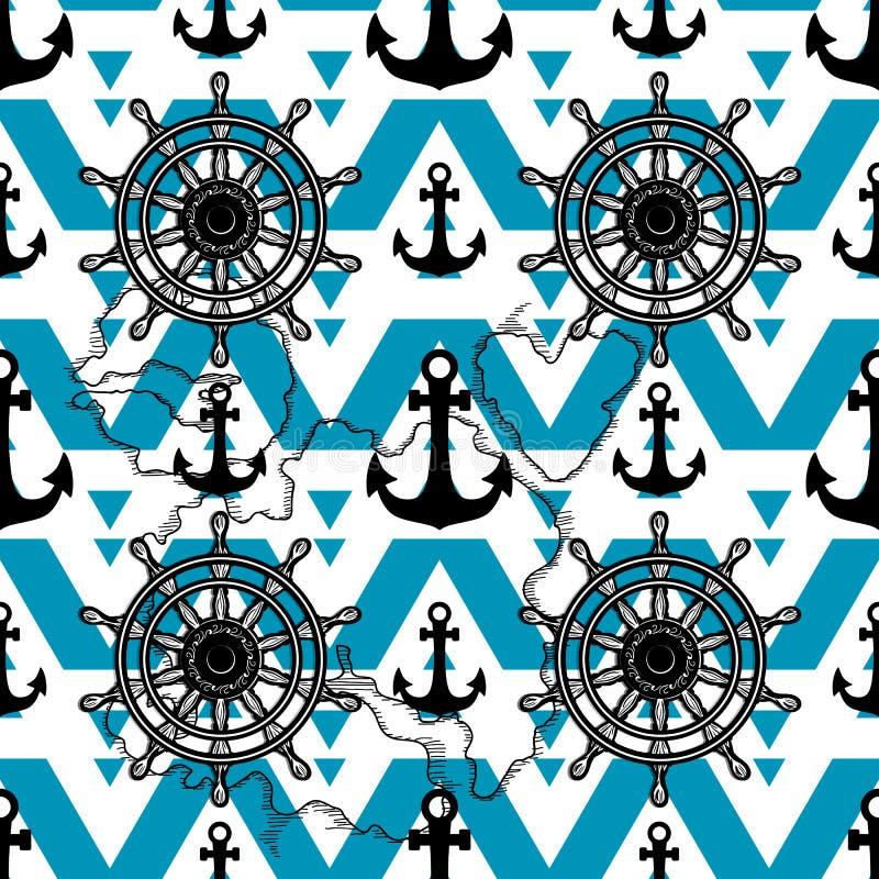 Θαλάσσιο υπόβαθρο σχεδίου Διανυσματικό άνευ ραφής σχέδιο αγκύρων και ροδών που απομονώνεται Αρσενικό ναυτικό ντεκόρ σύστασης διανυσματική απεικόνιση