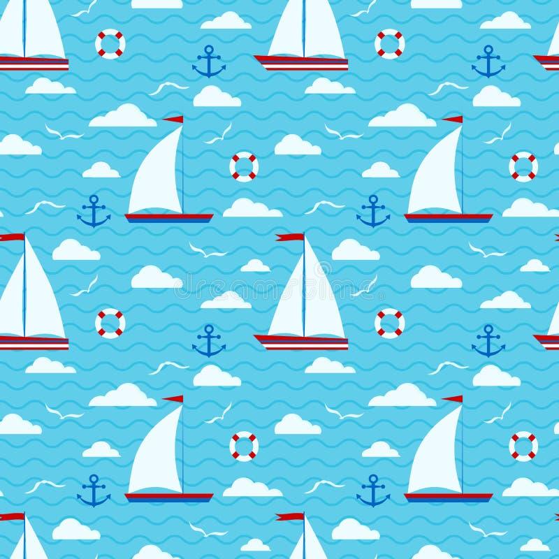 Θαλάσσιο χαριτωμένο διανυσματικό άνευ ραφής σχέδιο με ένα sailboat δύο πανιών, σύννεφα, άγκυρα, lifebuoy, γλάρος απεικόνιση αποθεμάτων