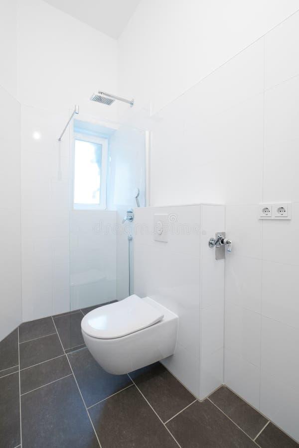 Θαλαμίσκος τουαλετών και ντους στο πρόσφατα ανακαινισμένο λουτρό στοκ φωτογραφίες