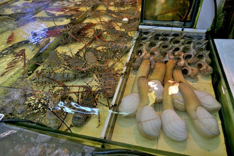 Θαλασσινά στο ψαροχώρι Lei Yue Mun στοκ φωτογραφία με δικαίωμα ελεύθερης χρήσης