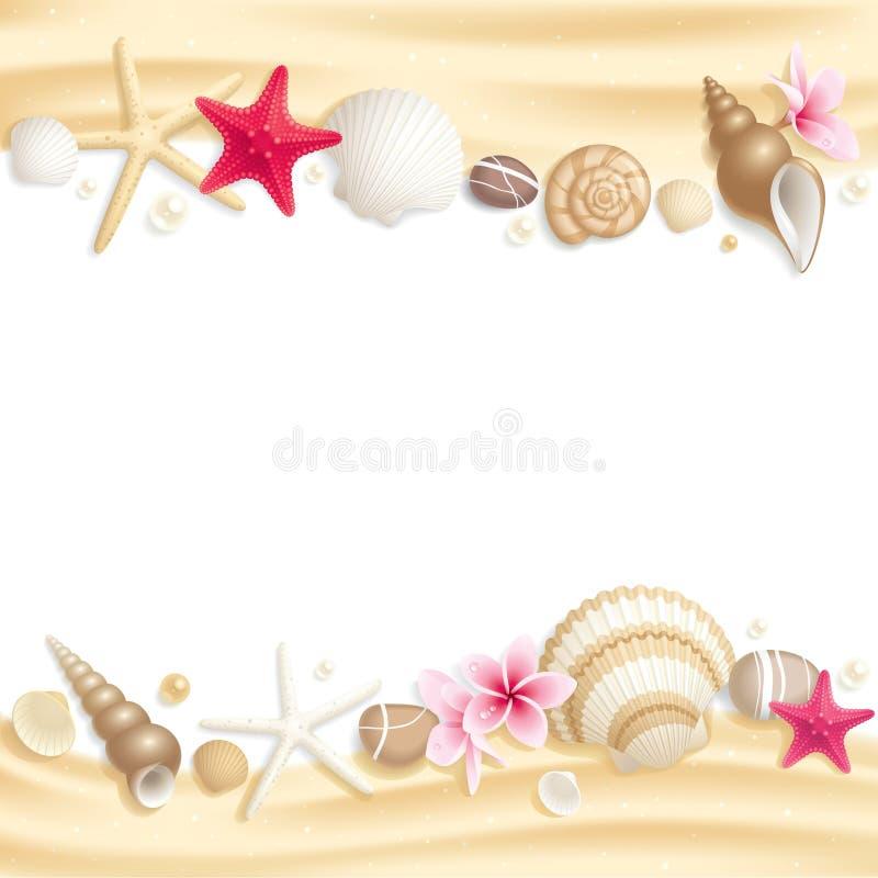 θαλασσινό κοχύλι πλαισί&omeg απεικόνιση αποθεμάτων