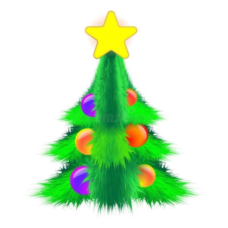 Θαμνώδες χριστουγεννιάτικο δέντρο που διακοσμούνται με τις σφαίρες και ένα αστέρι στο ελαφρύ υπόβαθρο Χνουδωτή διανυσματική απεικ ελεύθερη απεικόνιση δικαιώματος