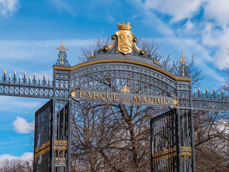 Θαυμάσια πύλη εισόδων στο πάρκο Retiro στη Μαδρίτη στοκ εικόνες με δικαίωμα ελεύθερης χρήσης