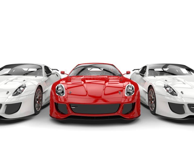 Θαυμάσιο κόκκινο σπορ αυτοκίνητο στη μέση δύο άσπρων αυτοκινήτων ελεύθερη απεικόνιση δικαιώματος