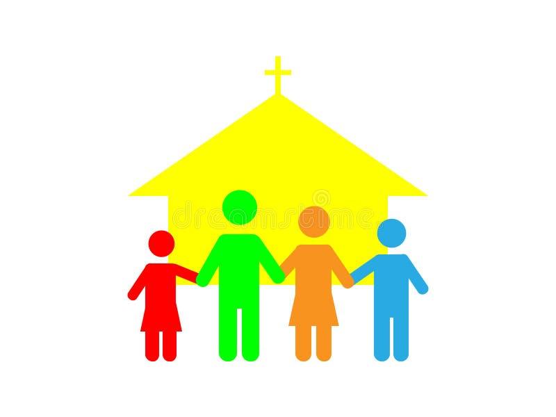 Θαυμάσιο σχέδιο της οικογένειας στην εκκλησία ελεύθερη απεικόνιση δικαιώματος