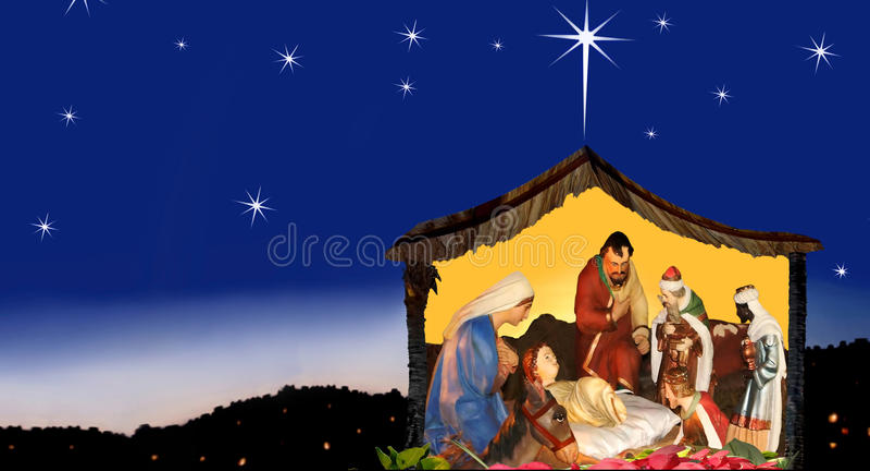 Θαυμασμός & ελπίδα των Χριστουγέννων, σκηνή nativity στοκ εικόνα με δικαίωμα ελεύθερης χρήσης