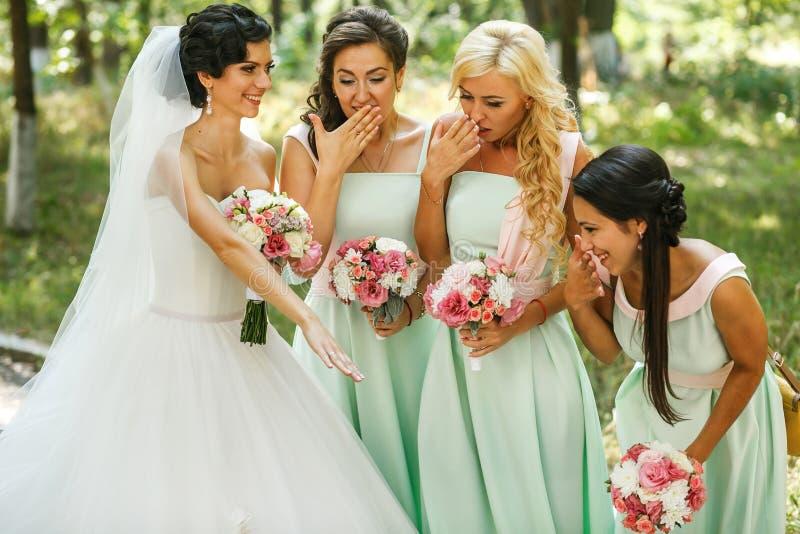 Θαυμασμός παράνυμφων της νύφης στοκ φωτογραφία