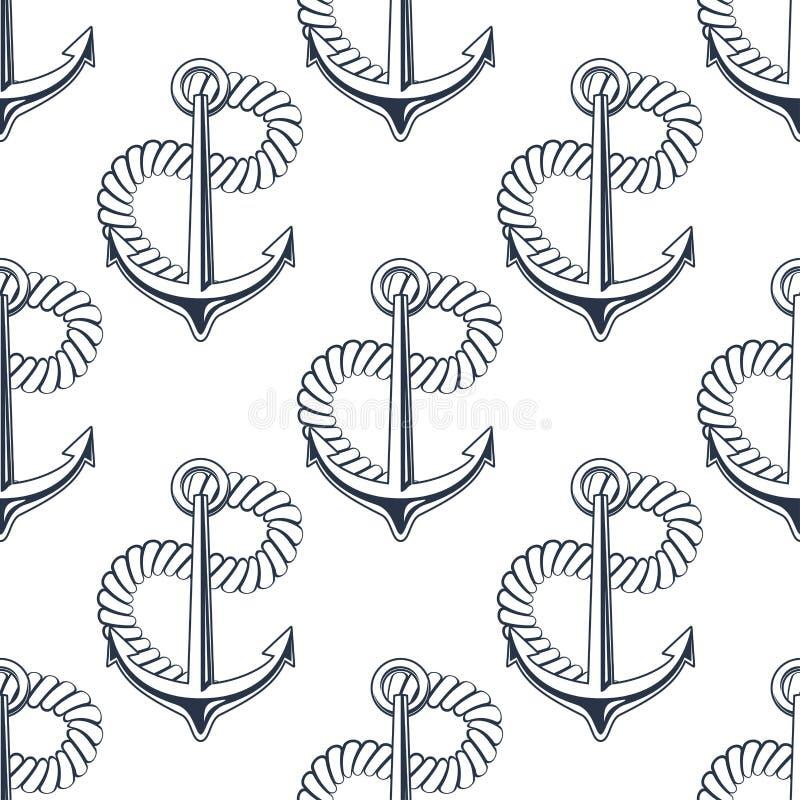 Θαλάσσια άγκυρα με το κατσάρωμα του σχοινιού ελεύθερη απεικόνιση δικαιώματος