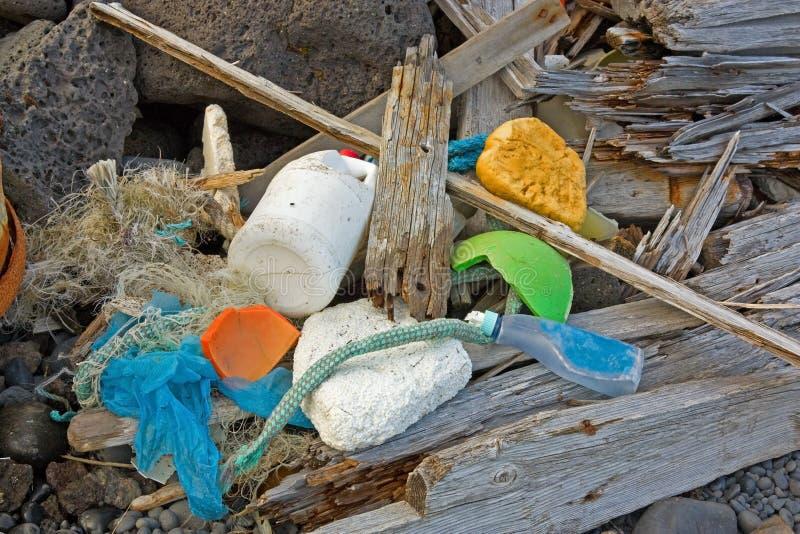 Θαλάσσια απορρίματα που πλένονται στην ξηρά στοκ φωτογραφίες