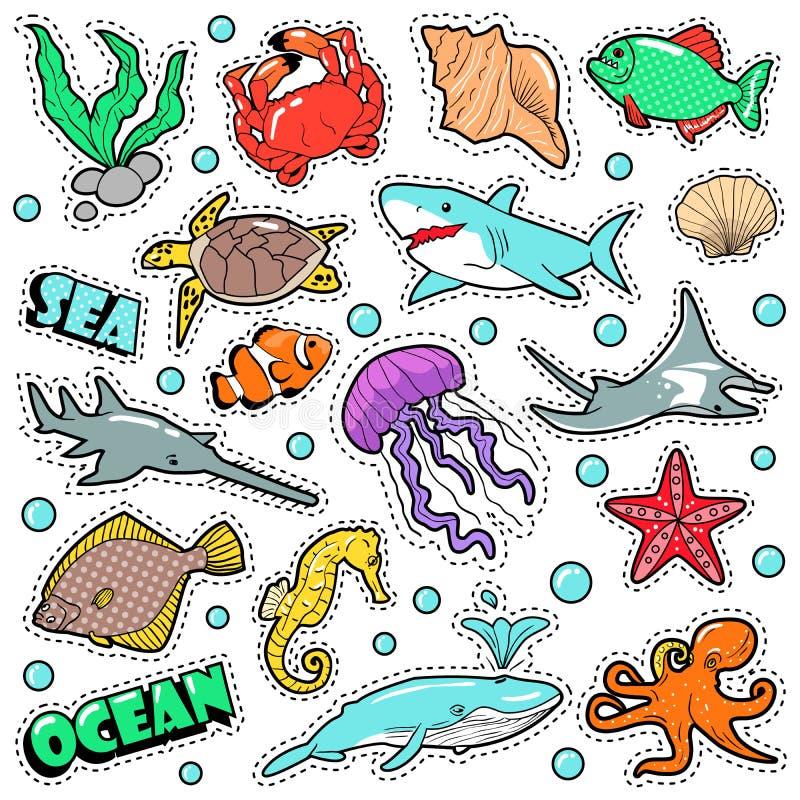 Θαλάσσια διακριτικά ζωής, μπαλώματα, αυτοκόλλητες ετικέττες - χταπόδι χελωνών καρχαριών ψαριών στο κωμικό ύφος Θάλασσα και ωκεάνι διανυσματική απεικόνιση