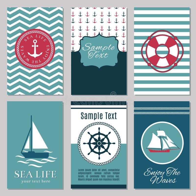 Θαλάσσια διανυσματική απεικόνιση σχεδίου εμβλημάτων ή καρτών θερινής ναυτική πρόσκλησης απεικόνιση αποθεμάτων