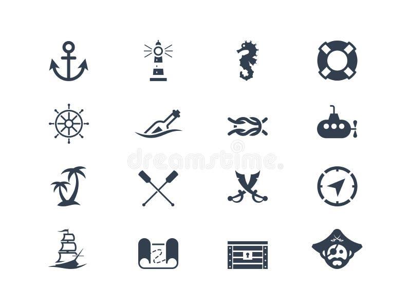 Θαλάσσια και ναυτικά εικονίδια απεικόνιση αποθεμάτων