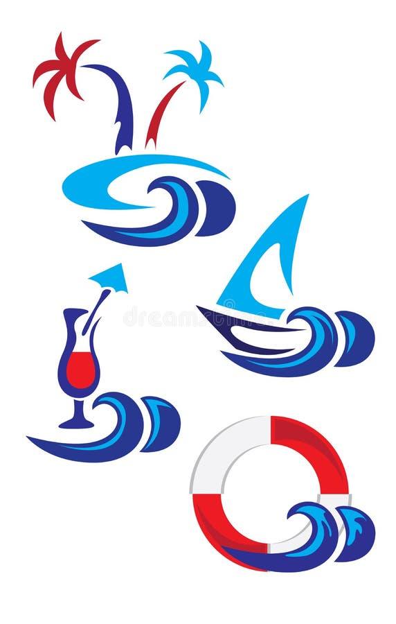 Θαλάσσια λογότυπα θερινών εικονιδίων απεικόνιση αποθεμάτων