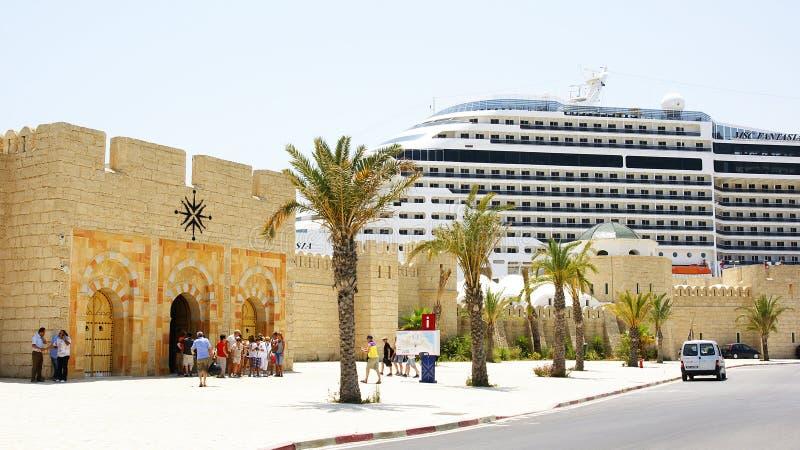 Θαλάσσιος σταθμός με τον υπερατλαντικό λιμένα του Λα Goulette, Τυνησία στοκ φωτογραφίες