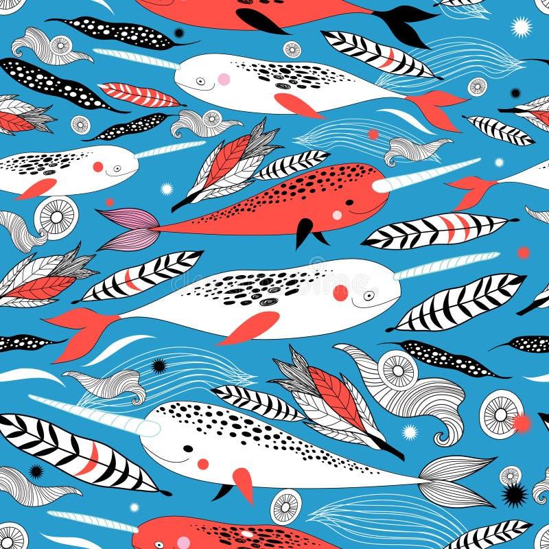 Θαλάσσιο άνευ ραφής γραφικό σχέδιο με τη διαφορετική άσπρη φάλαινα απεικόνιση αποθεμάτων