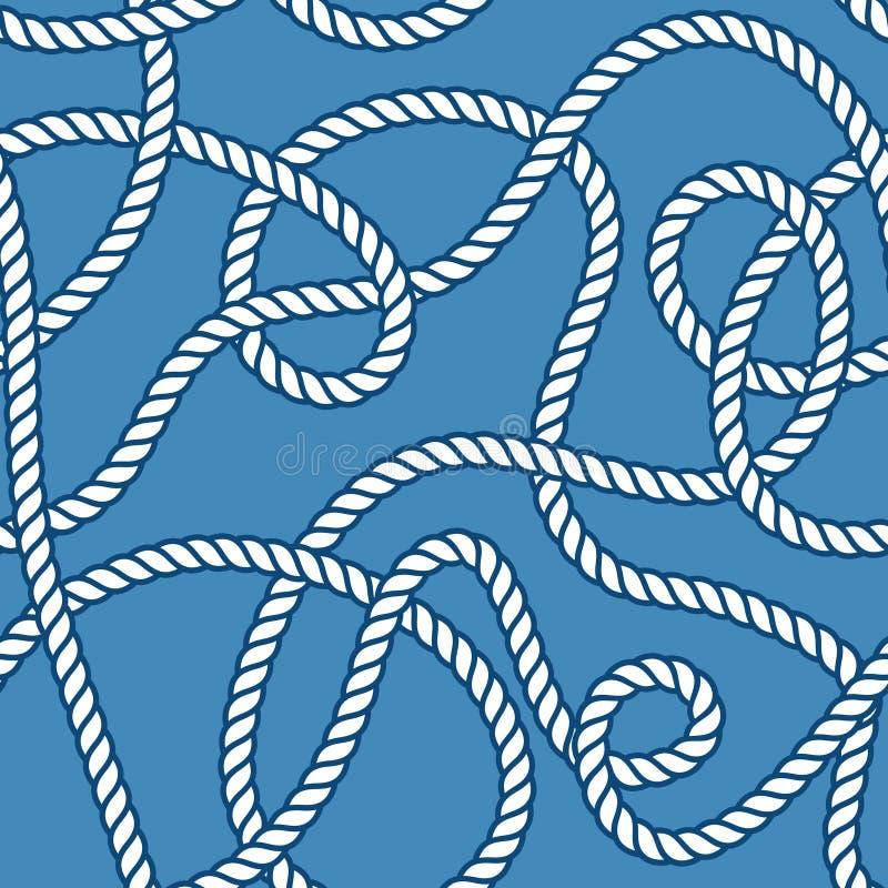 Θαλάσσιο σχοινί και άνευ ραφής σχέδιο κόμβων απεικόνιση αποθεμάτων