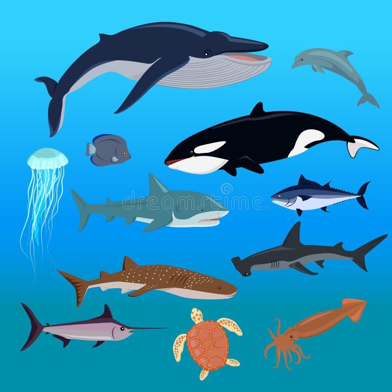 Θαλάσσιο σύνολο πανίδας υδρόβιων ζώων ελεύθερη απεικόνιση δικαιώματος