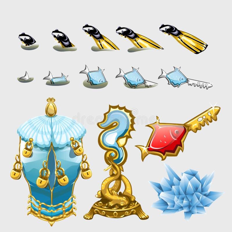 Θαλάσσιο σύνολο ψαριών με τα κλειδιά, τα πτερύγια και τους θησαυρούς ελεύθερη απεικόνιση δικαιώματος
