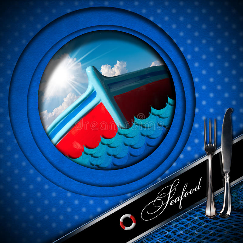 Θαλασσινά - σχέδιο επιλογών - αλιευτικό σκάφος απεικόνιση αποθεμάτων