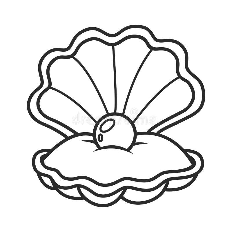 Θαλασσινό κοχύλι οστράκων με το μαργαριτάρι διανυσματική απεικόνιση