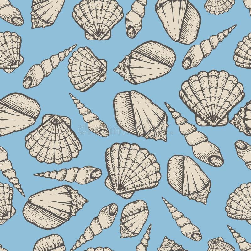 Θαλασσινών κοχυλιών διανυσματική απεικόνιση doodle συλλογής συρμένη χέρι υδρόβια Άνευ ραφής σχέδιο σκίτσων διανυσματική απεικόνιση