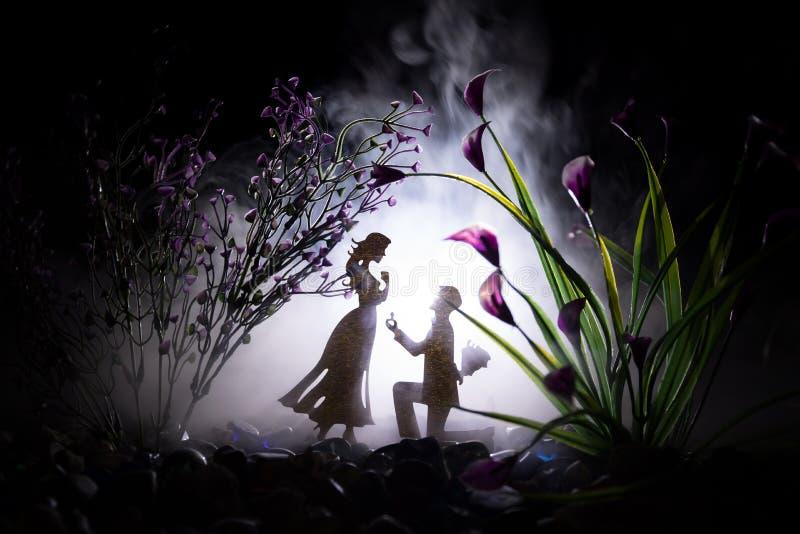 Θα με παντρεψετε; Σκιαγραφία του νεαρού άνδρα που μένει στο γόνατο και που κάνει την πρόταση για το καλό κορίτσι του στην παραλία στοκ εικόνα
