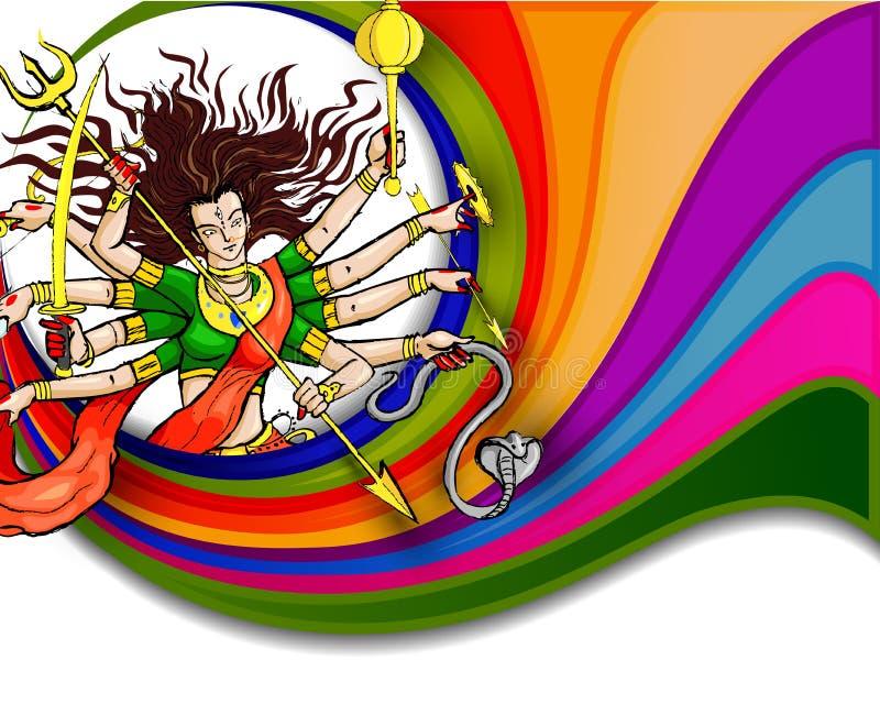 Θεά Durga για ευτυχές Dussehra απεικόνιση αποθεμάτων