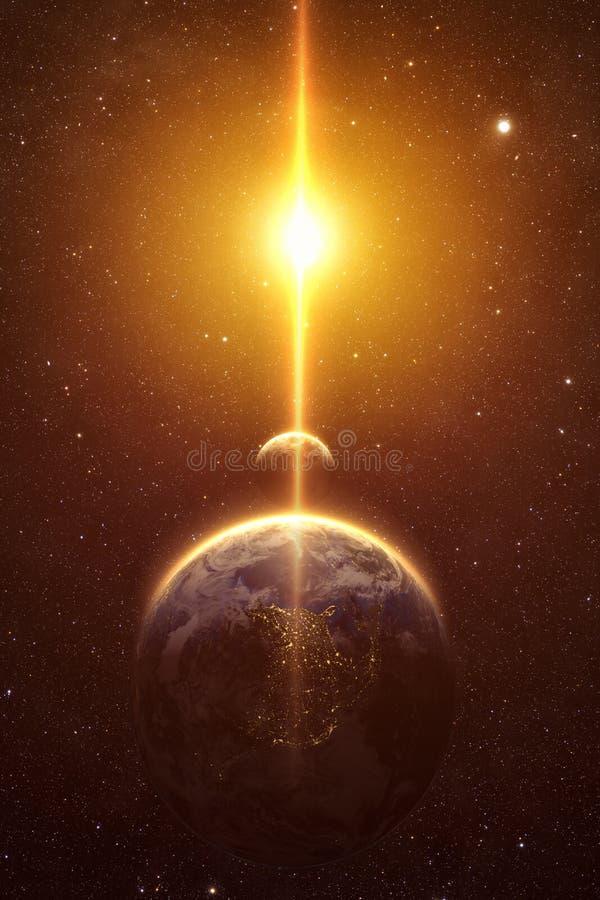 Θεαματική άποψη ανατολής πέρα από το πλανήτη Γη και το φεγγάρι απεικόνιση αποθεμάτων