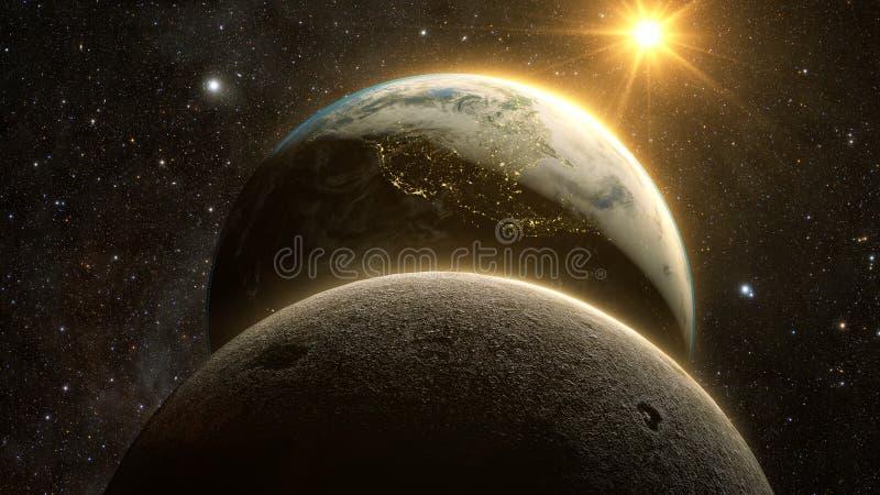 Θεαματική άποψη ανατολής πέρα από το πλανήτη Γη και το φεγγάρι ελεύθερη απεικόνιση δικαιώματος