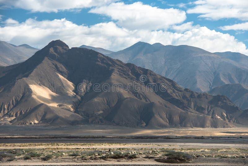 Θεαματικό τοπίο βουνών στο στρατόπεδο βάσεων ορών Έβερεστ στοκ εικόνες