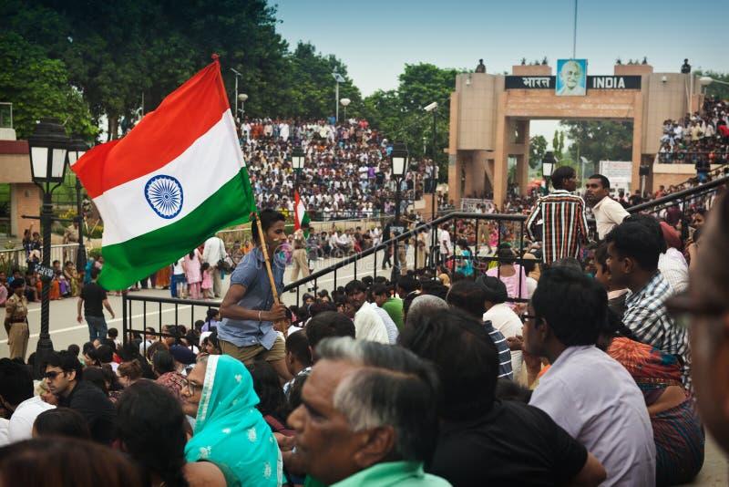 Τελετή συνόρων Ινδία-Πακιστάν στοκ εικόνες με δικαίωμα ελεύθερης χρήσης