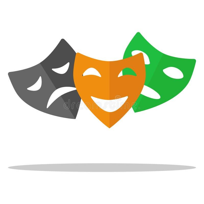 Θεατρικές μάσκες, ένα σύνολο μασκών θεάτρων Κωμωδία, τραγωδία, δράμα απεικόνιση αποθεμάτων