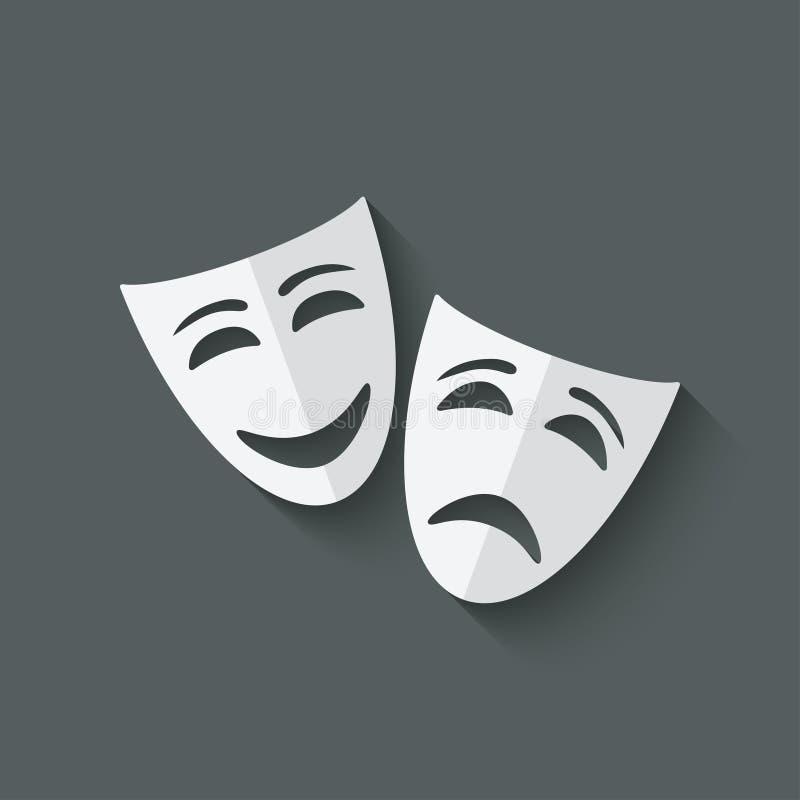 Θεατρικές μάσκες κωμωδίας και τραγωδίας διανυσματική απεικόνιση