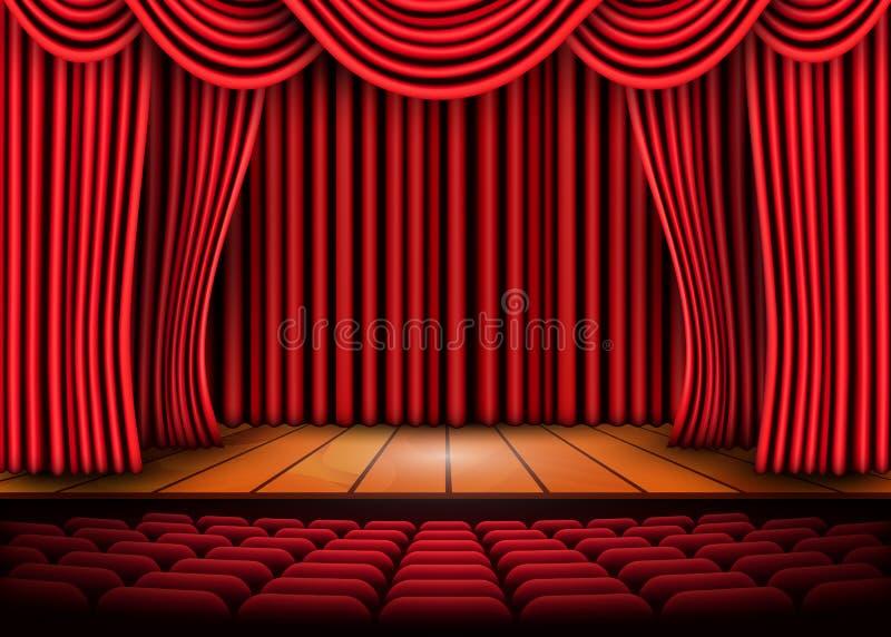 Θεατρική σκηνή με τις κόκκινες κουρτίνες και το ξύλινο πάτωμα διάνυσμα χρήσης αποθεμάτων απεικόνισης σχεδίου σας διανυσματική απεικόνιση