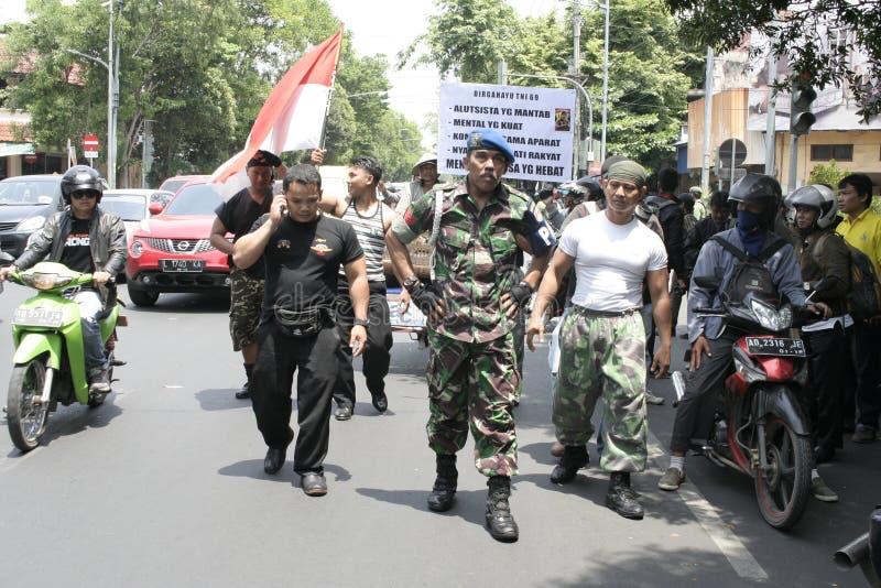 Θεατρικός στρατός Ινδονησία δράσης μελών στοκ φωτογραφία με δικαίωμα ελεύθερης χρήσης