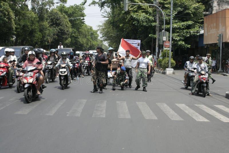 Θεατρικός στρατός Ινδονησία δράσης μελών στοκ φωτογραφίες