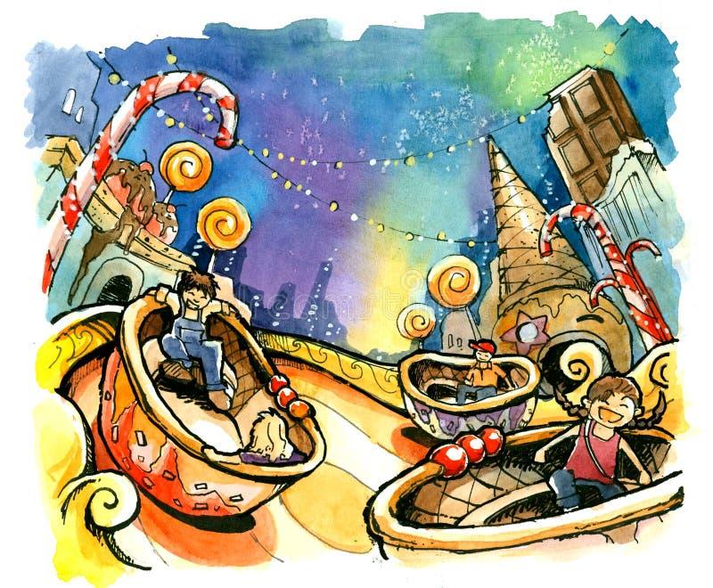 θεματικό πάρκο, καλοκαίρι διασκέδασης απεικόνισης λούνα παρκ ελεύθερη απεικόνιση δικαιώματος