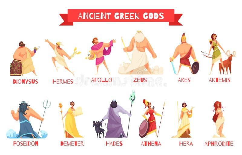 Θεοί αρχαίου Έλληνα καθορισμένοι διανυσματική απεικόνιση