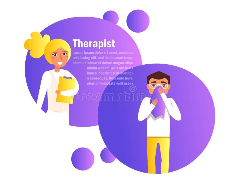 Θεράπων, διαβουλεύσεις με τον ασθενή Σε απευθείας σύνδεση διάνυσμα γιατρών cartoon Απομονωμένη τέχνη διανυσματική απεικόνιση