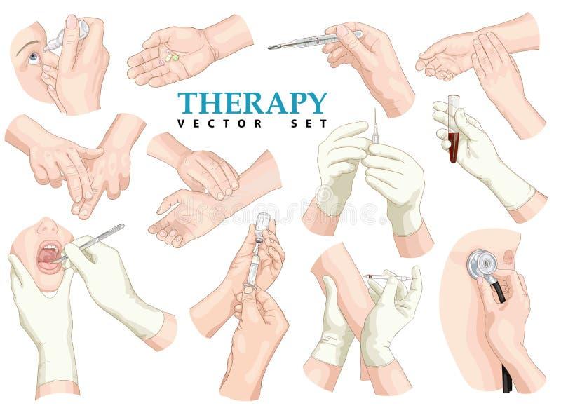 θεραπεία πολικό καθορισμένο διάνυσμα καρδιών κινούμενων σχεδίων διανυσματική απεικόνιση