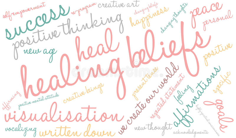 Θεραπεύοντας σύννεφο του Word εγκεφάλου πεποιθήσεων απεικόνιση αποθεμάτων